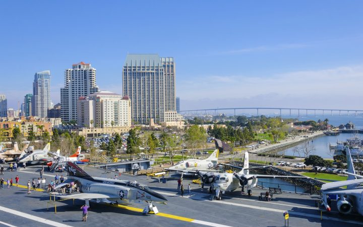 USS Midway Museum moored in Broadway Pier in Downtown San Diego Southern California