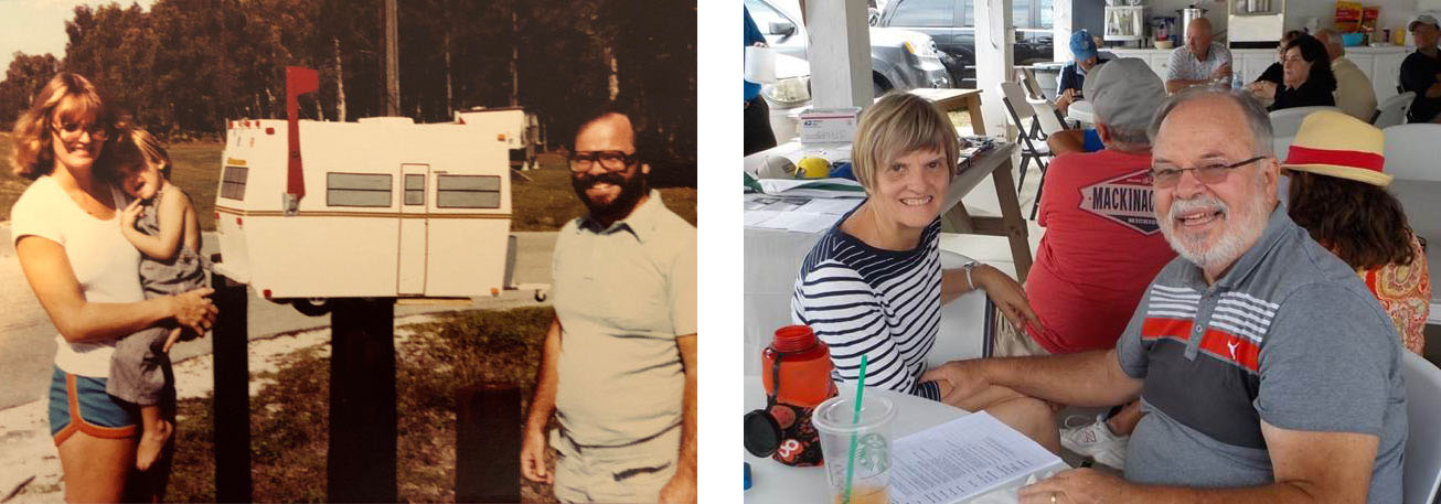 A before and after shot of a couple celebrating 50 years in the campground business.