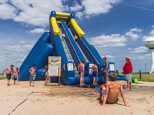 Caboose Lake Campground - inflatable waterslide