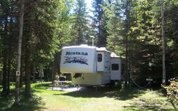 Wawa Campground - RV site among pine trees