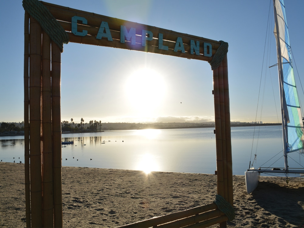 Campland on the Bay - sign on the beach
