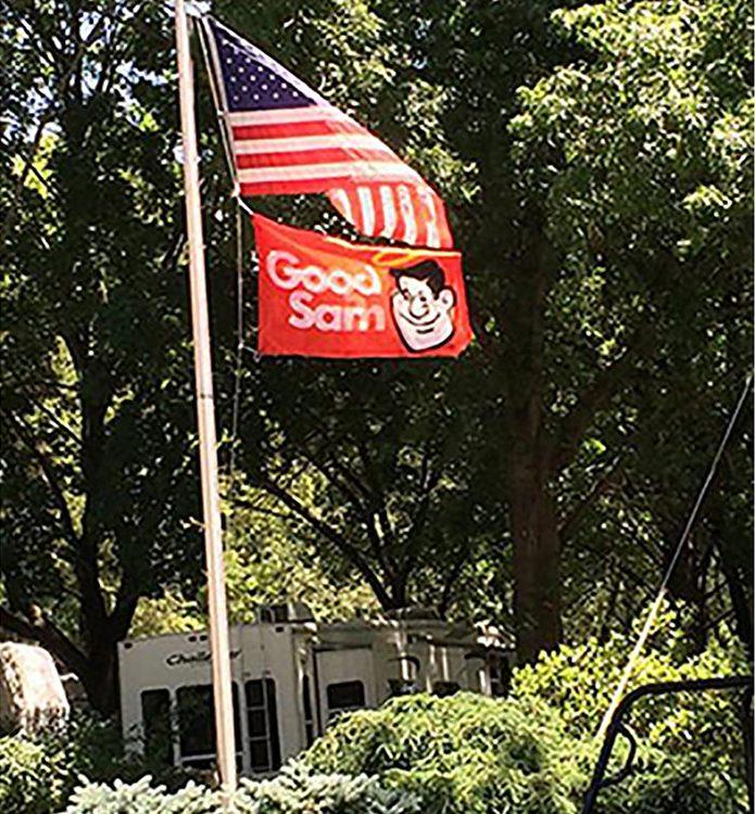 Jonestown AOK Campground - flag at campground