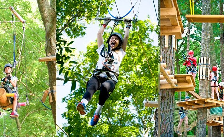 Sun RV Resorts - zip lining at Frontier Town RV Resort & Campground.
