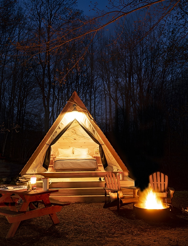 Hideaway Hut at Sandy Pines Campground, Kennebunkport, Maine (photo by Douglas Merriam)