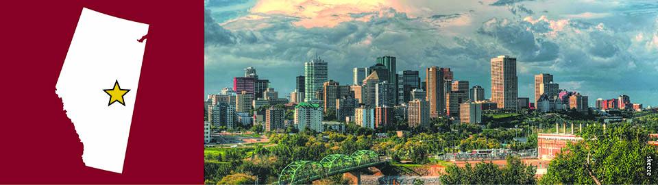Panoramic view of downtown Edmonton skyline