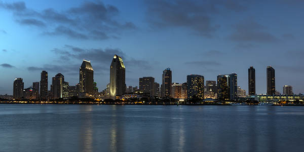 Dusk view of San Diego Skyline and ocean