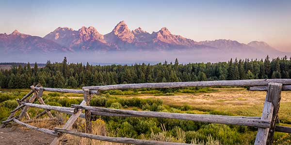 Jackson Wyoming mountains in background with wooden fence and pine trees