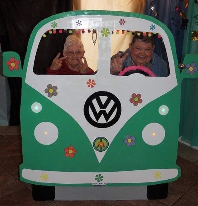 Boardwalk RV Resort - couple in cardboard car