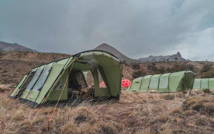 Crua Outdoors Green Crua 7 Tent setup in the mountains