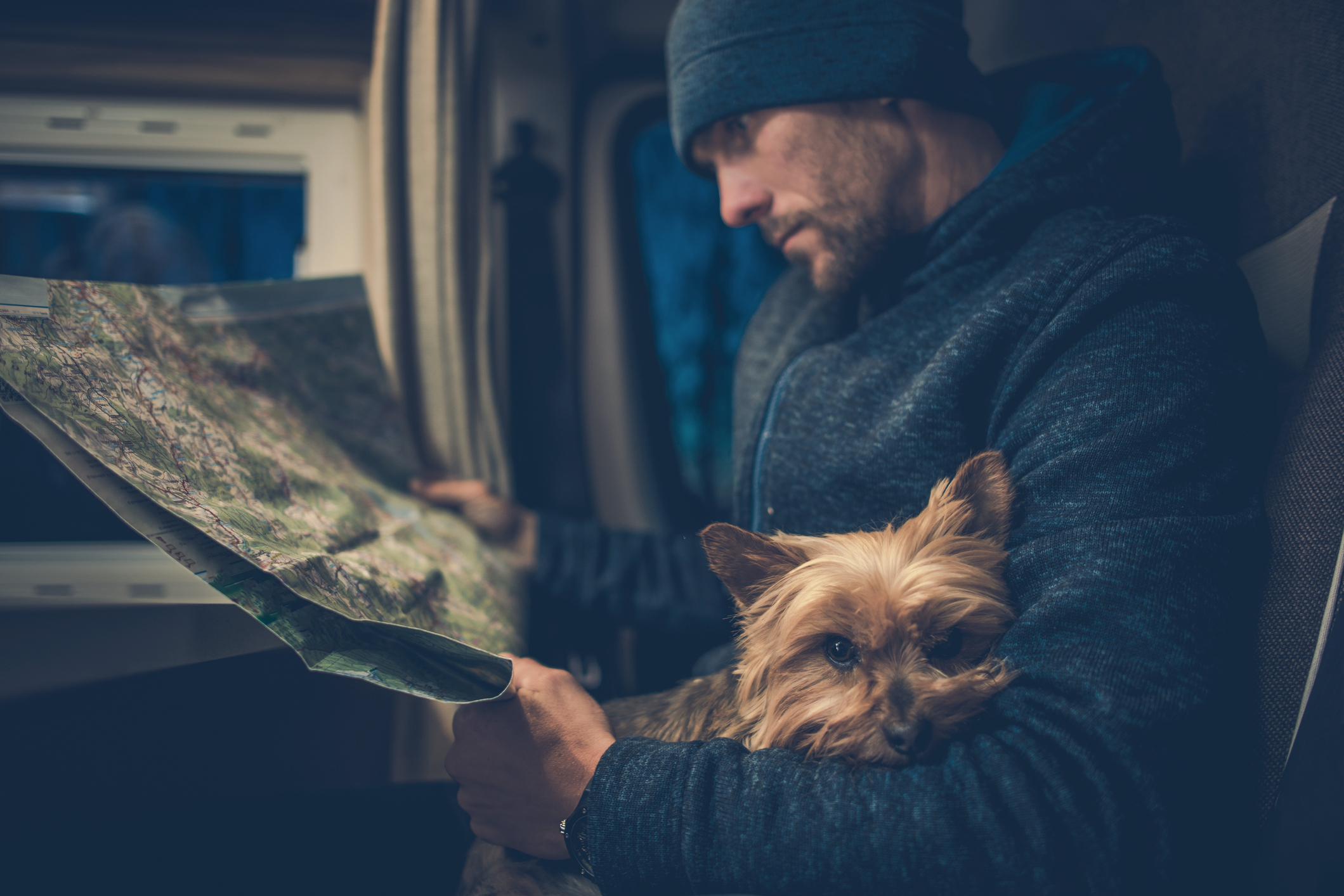 man in motorhome with map and dog
