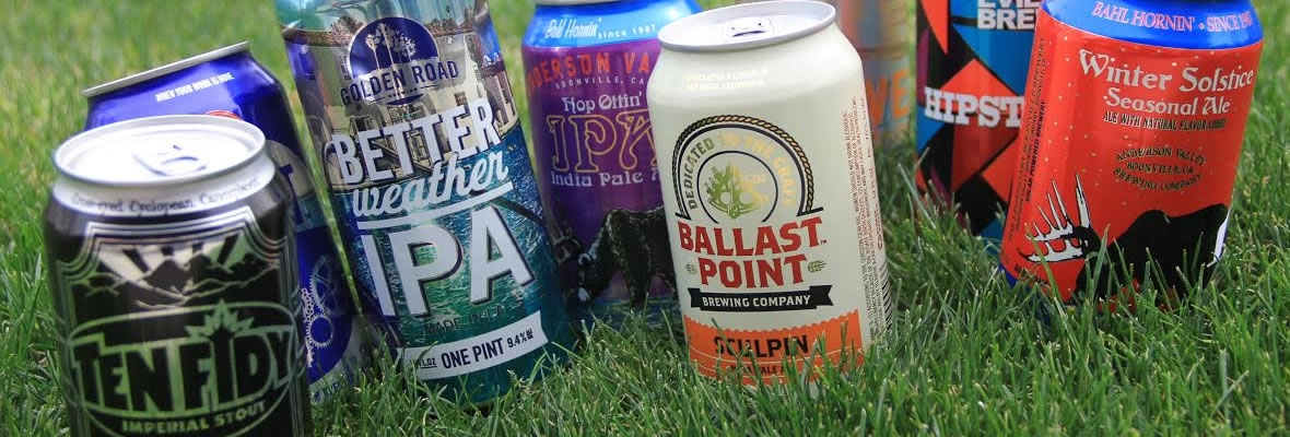 Canned craft beers on grass