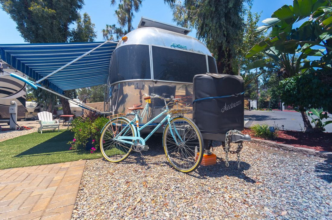 RV Resort El Cajon California RV with Blue Bike