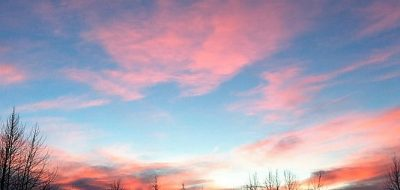 Beautiful pink and blue sunset at River's Edge RV Park in Alaska