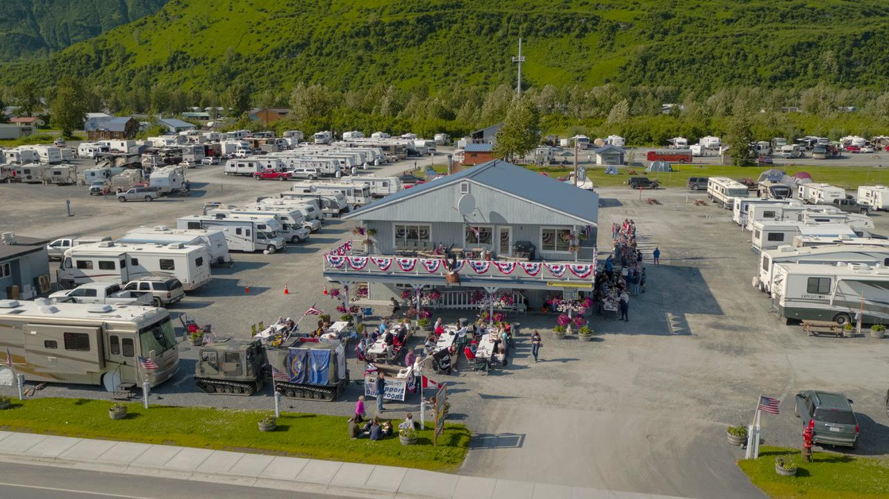 Aerial view of outdoor event and RV's parked at Eagles Rest RV Park