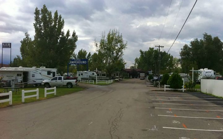 RVs parked in concrete parking spaces in RV Park