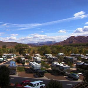 Aerial photo of RVs parked at Zion River Resort RV Park