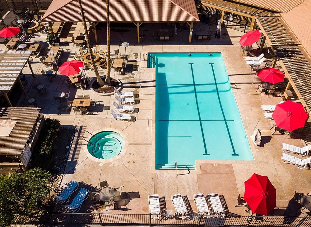 Aerial view of lap pool with circular spa and lounge chairs on sunny day