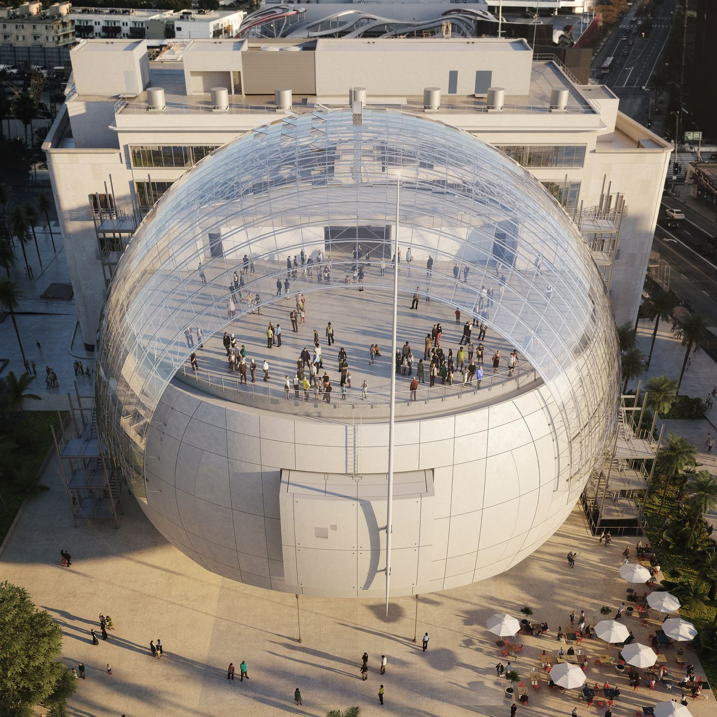 Aerial photograph of the Academy Museum opening in Los Angeles in 2019.