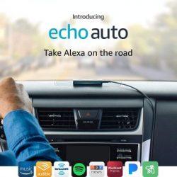 Amazon Alexa Auto unit sitting on top of dash board inside of a vehicle.