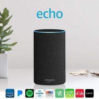 Original amazon echo speaker sitting on countertop