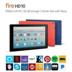Amazon Fire HD10 shown in various colors