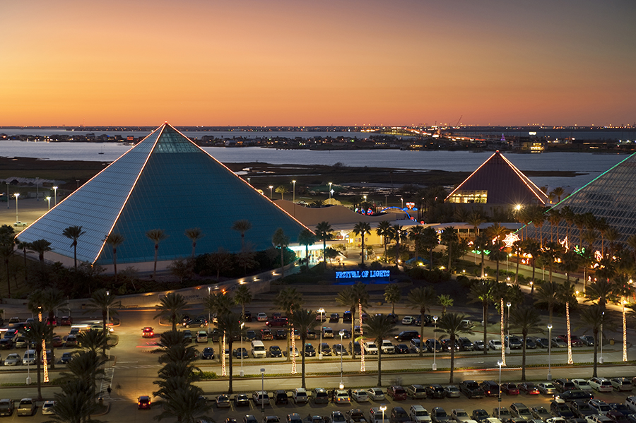 View of the three illuminated pyramids of Galveston's Moody Gardens.