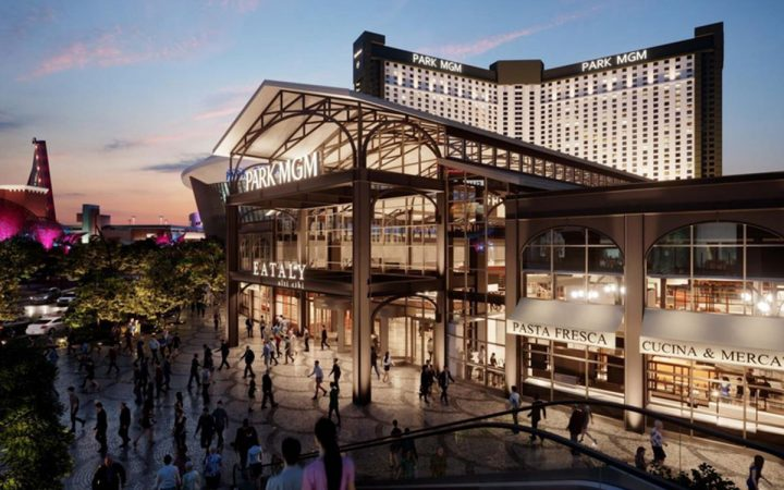Concept of the outdoor entry area of the Park MGM hotel in Las Vegas at night.
