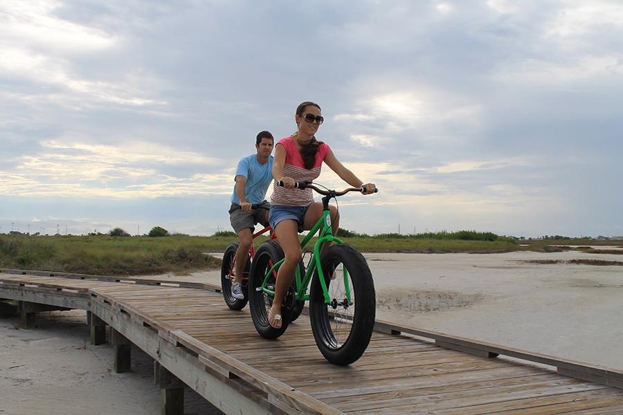 Biking along the shore in Port Aransas