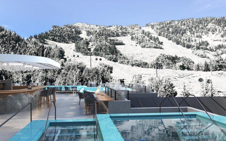 Rendering of pool at resort on snowy mountainside