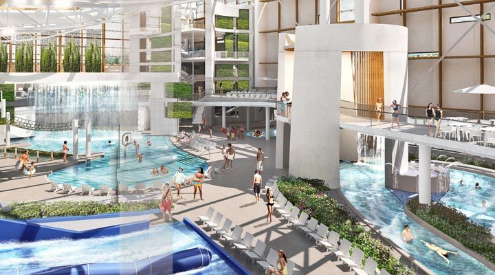 Artistic concept drawing of the indoor water park space at SoundWaves