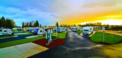 Sunset picture of RV's parked at Guaranty RV Park