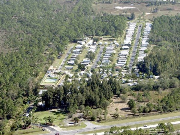 Aerial photograph of campground loaded with RVs