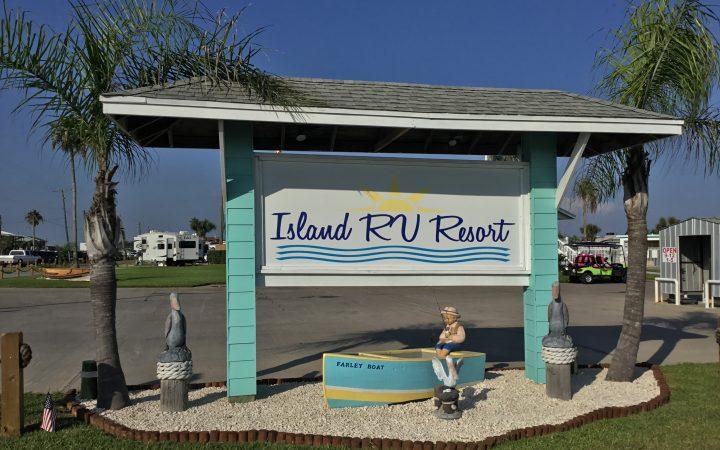 Daytime Island RV Resort sign