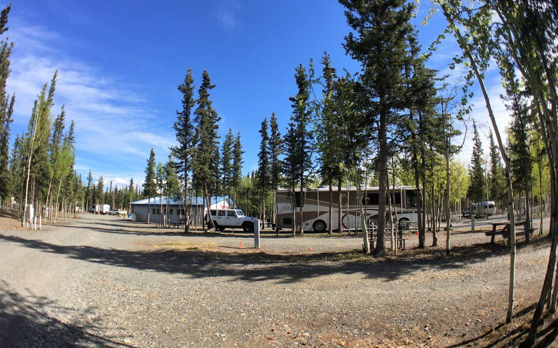 Fisheye photo of the Tok RV Village campsite