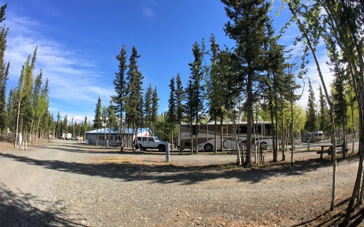Fisheye photo of the Tok RV Village campsite