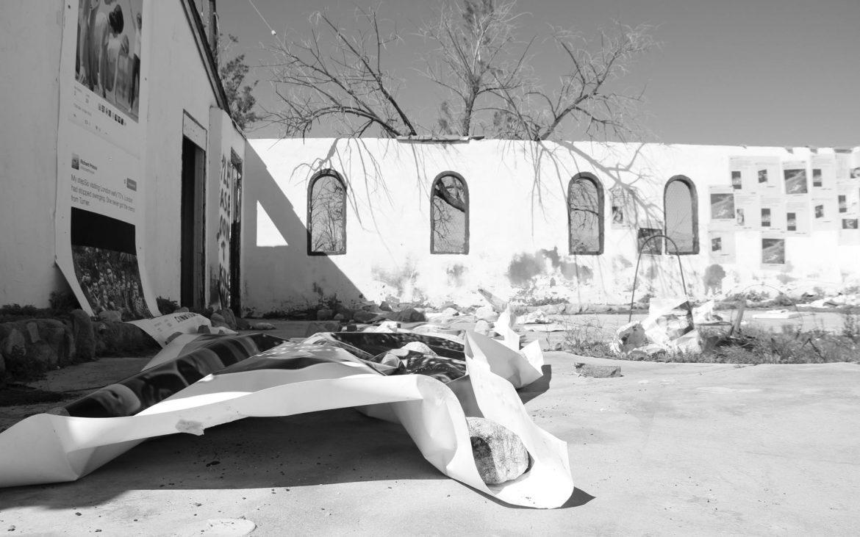 Art instillation of paper tweets at abandoned building in Desert Hot Springs