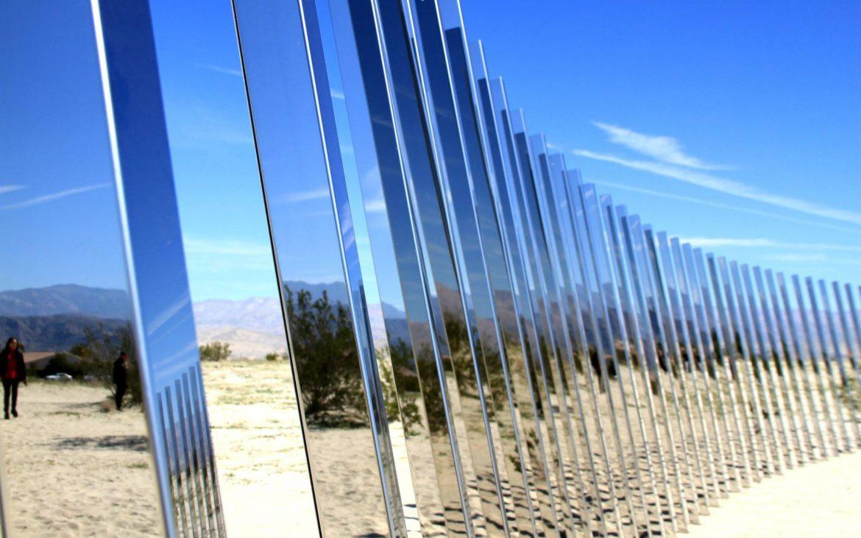 Art instillation consisting of geometric mirrored reflectors in Palm Desert California.