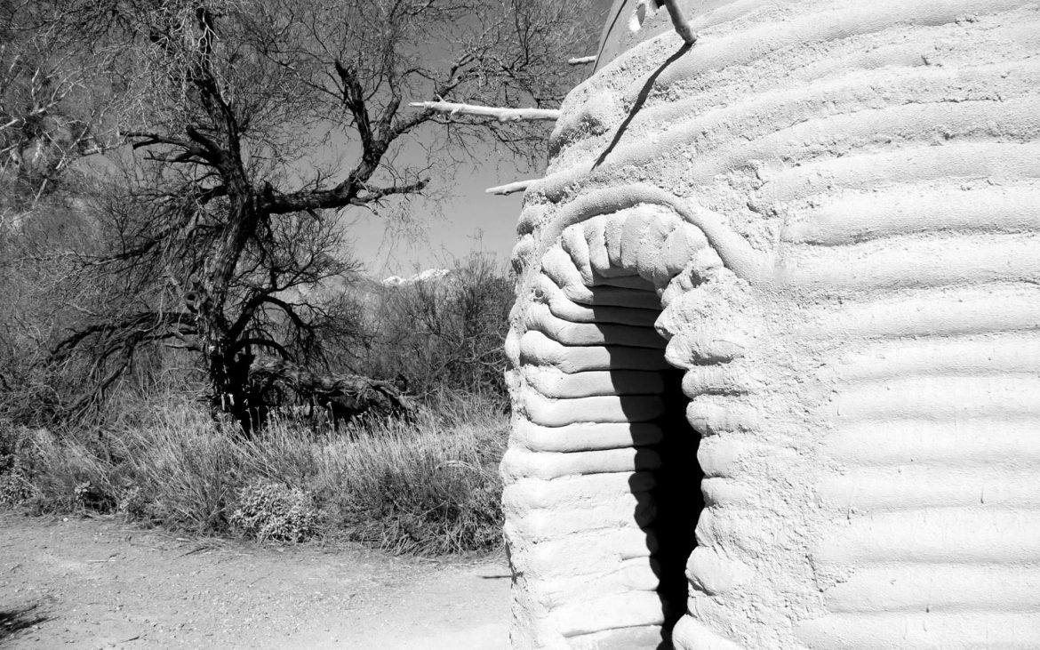 Sculpture modeled after traditional pigeon tower in Whitewater Preserve