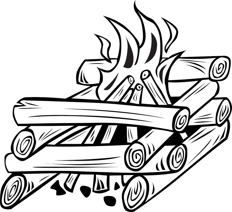 A cartoon rendering of a log cabin fire.