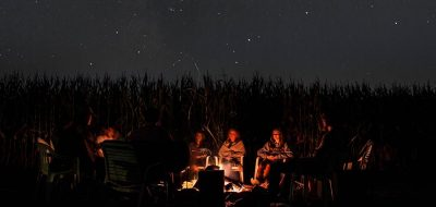 Camping under a starry sky