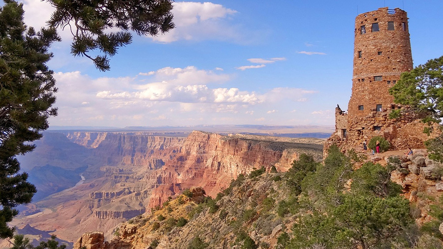 The 70-foot-tall Desert View Watchtower sits on the Grand Canyon's South Rim.