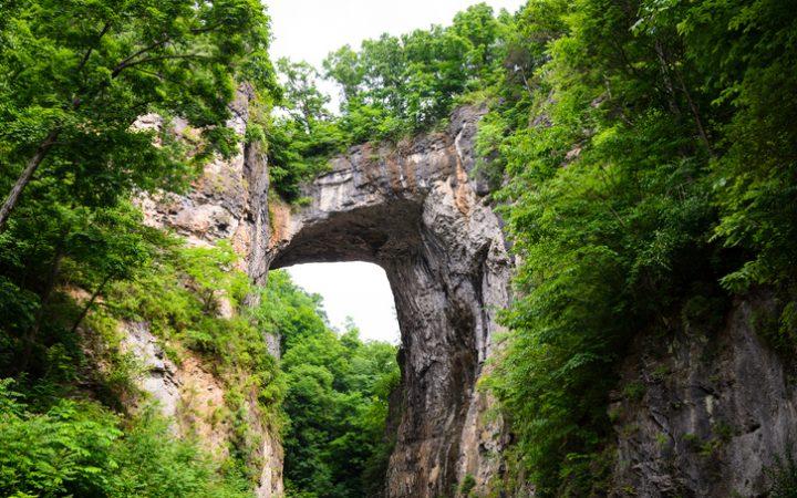 Natural Bridge formed of rock and greenery, Virginia