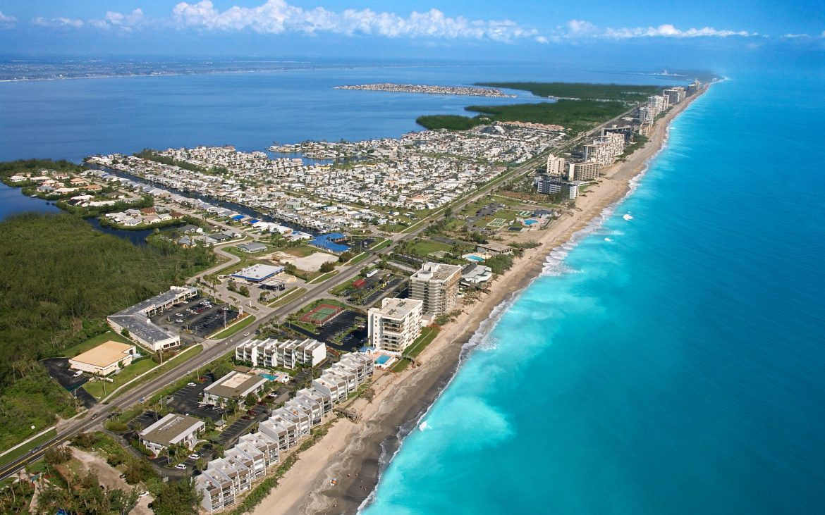 Aerial view of Jenson Beach, Florida