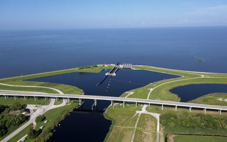 Aerial of Port Mayaca Lake Okeechobee Florida.