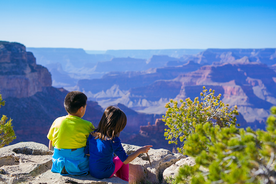 Overlooking the Grand Canyon.
