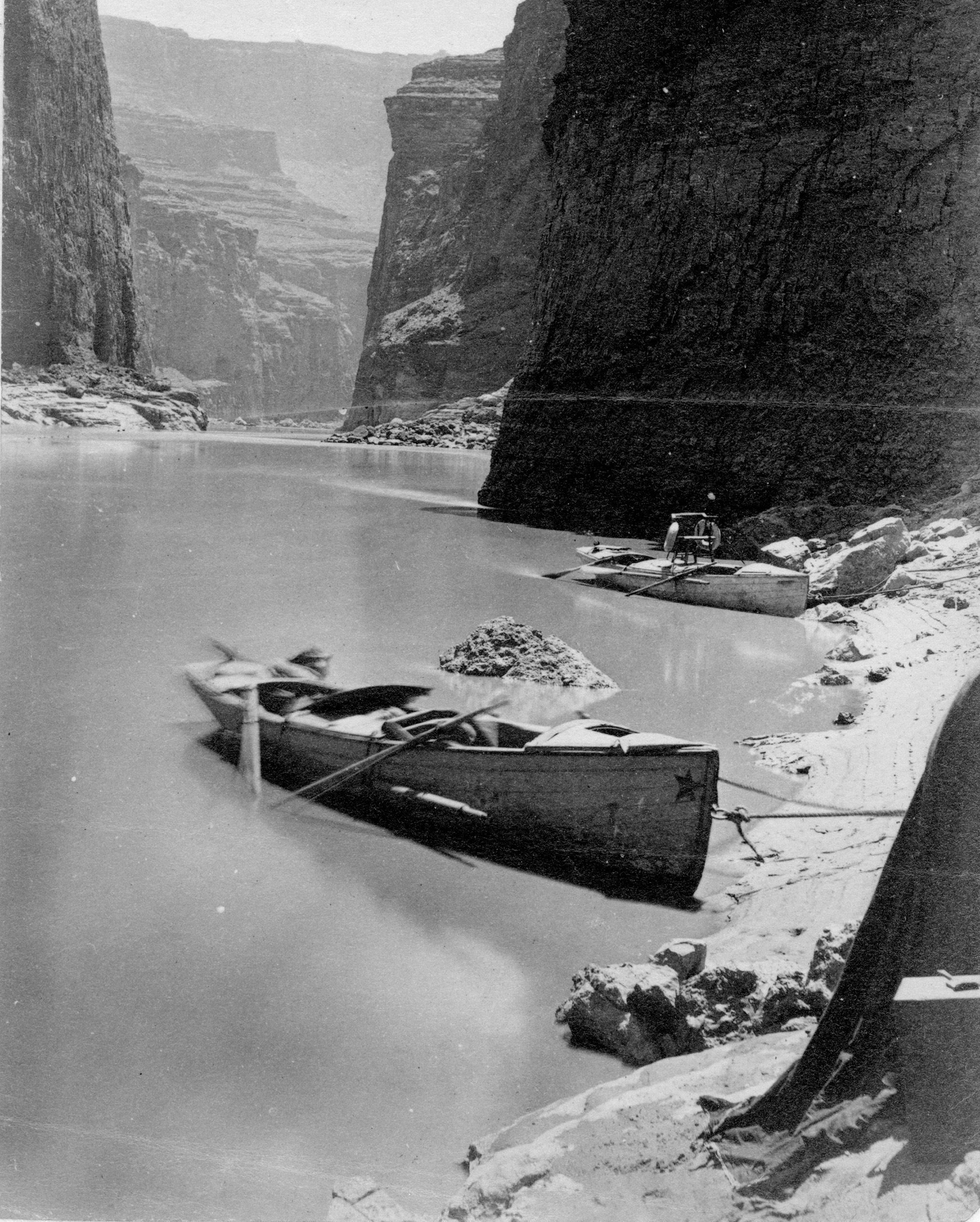 Boats from the Powell expedition in the 1800s.