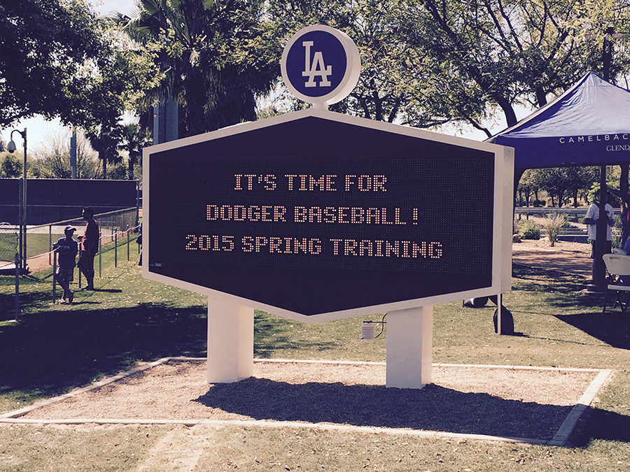 The DodgerVision scoreboard is a landmark in Camelback Ranch.