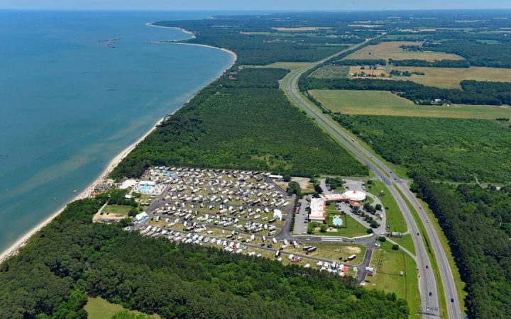 Aerial view of virginia campground with water surrounding it
