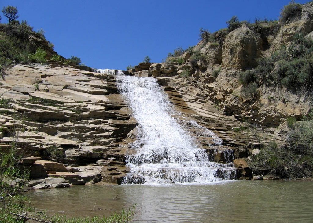 beautiful waterfall in the desert