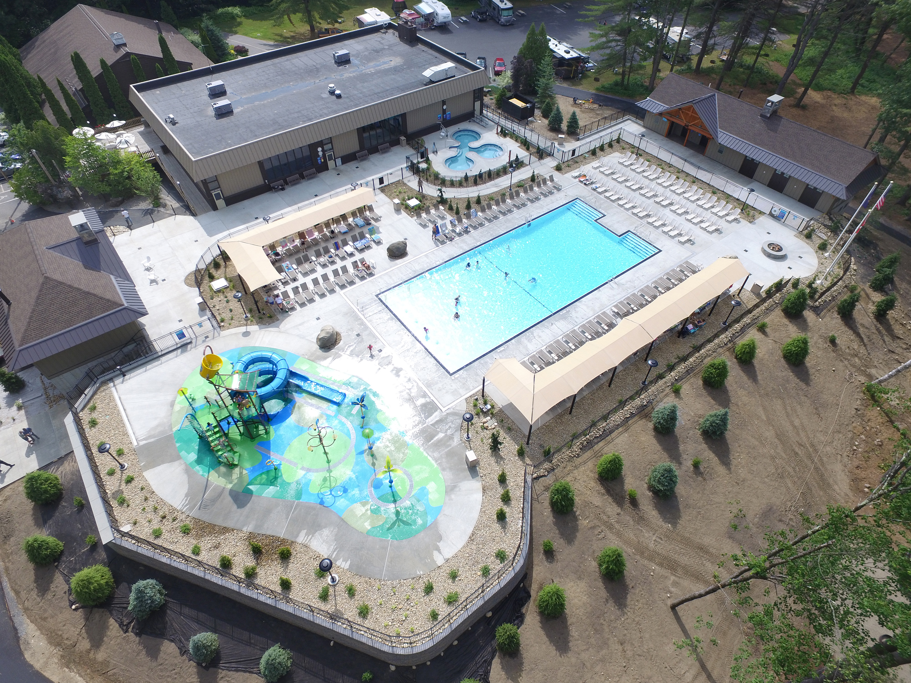Aerial photography of large outdoor waterpark